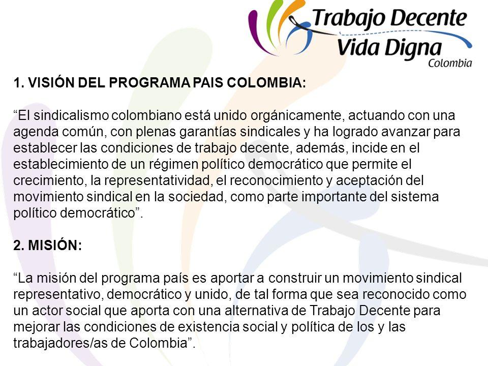 1. VISIÓN DEL PROGRAMA PAIS COLOMBIA: El sindicalismo colombiano está unido orgánicamente, actuando con una agenda común, con plenas garantías sindica
