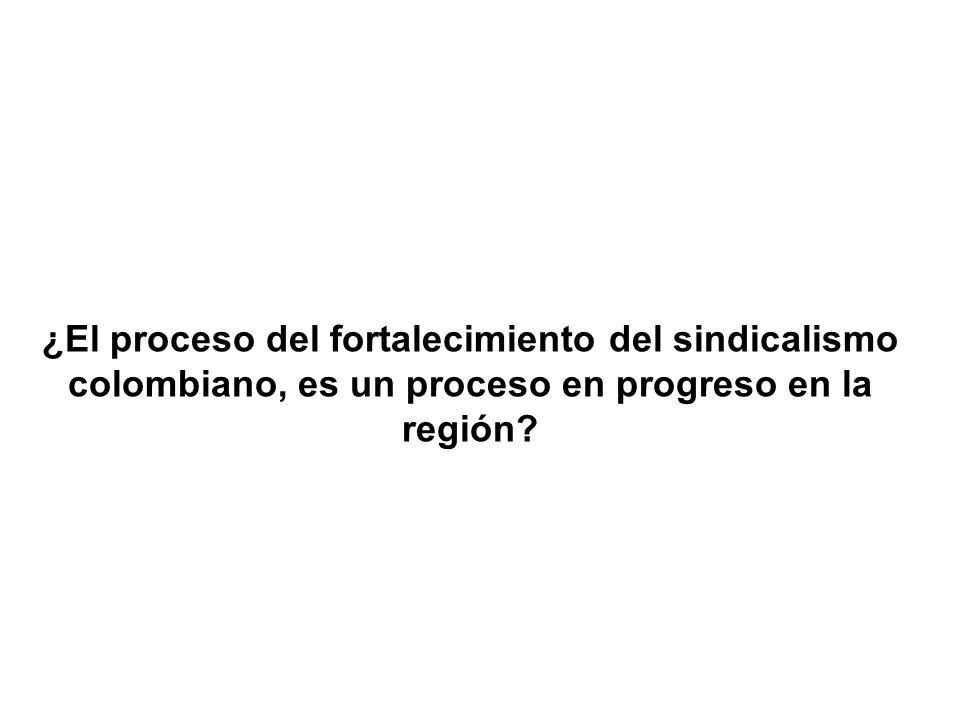 ¿El proceso del fortalecimiento del sindicalismo colombiano, es un proceso en progreso en la región