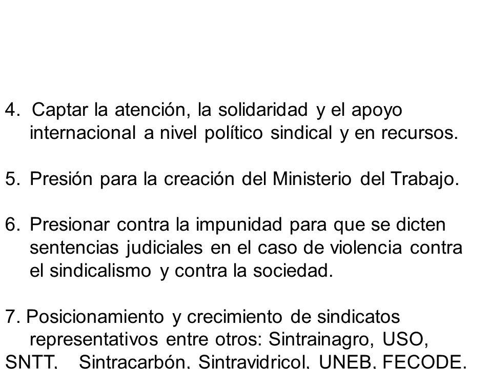 4. Captar la atención, la solidaridad y el apoyo internacional a nivel político sindical y en recursos. 5.Presión para la creación del Ministerio del