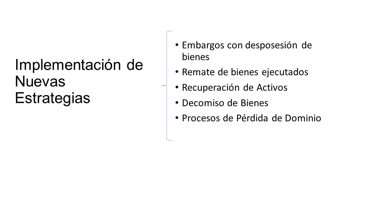 Implementación de Nuevas Estrategias Embargos con desposesión de bienes Remate de bienes ejecutados Recuperación de Activos Decomiso de Bienes Procesos de Pérdida de Dominio