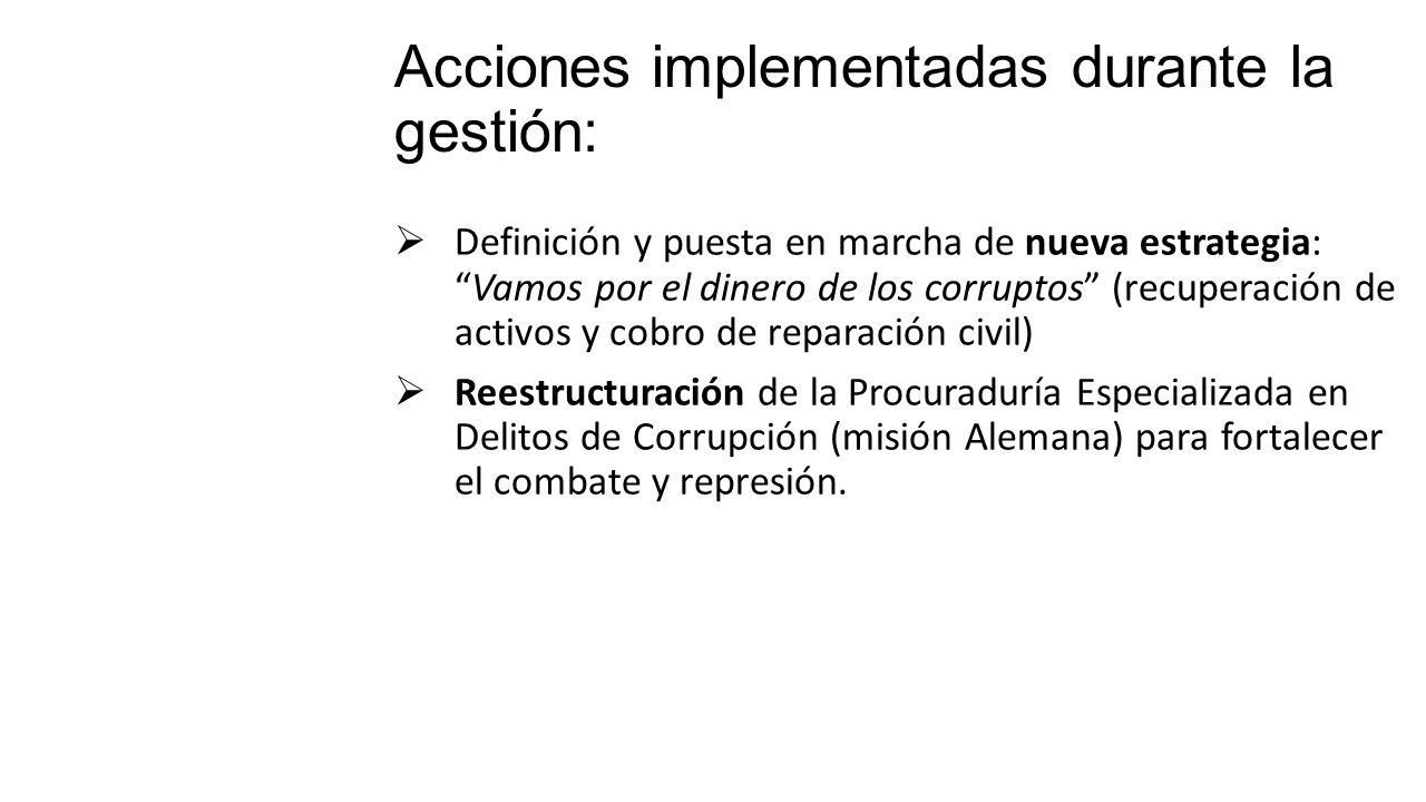 Definición y puesta en marcha de nueva estrategia:Vamos por el dinero de los corruptos (recuperación de activos y cobro de reparación civil) Reestruct
