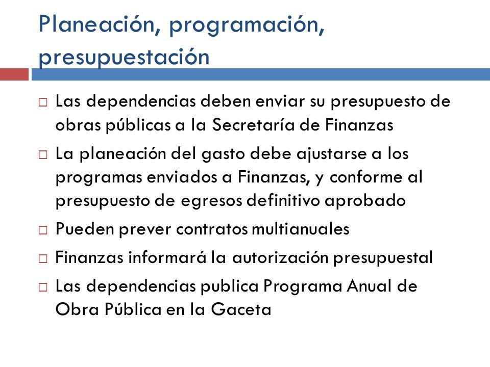 Planeación, programación, presupuestación Las dependencias deben enviar su presupuesto de obras públicas a la Secretaría de Finanzas La planeación del