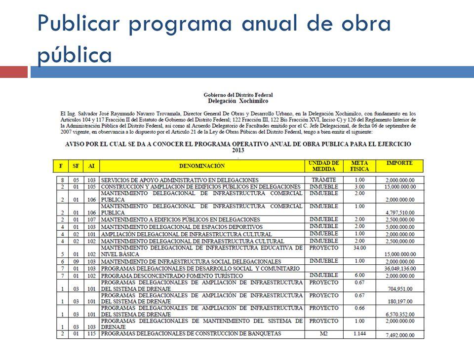 Publicar programa anual de obra pública