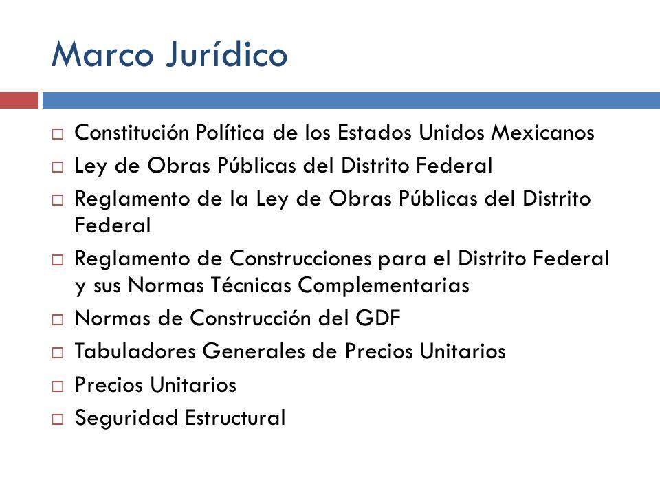 Marco Jurídico Constitución Política de los Estados Unidos Mexicanos Ley de Obras Públicas del Distrito Federal Reglamento de la Ley de Obras Públicas