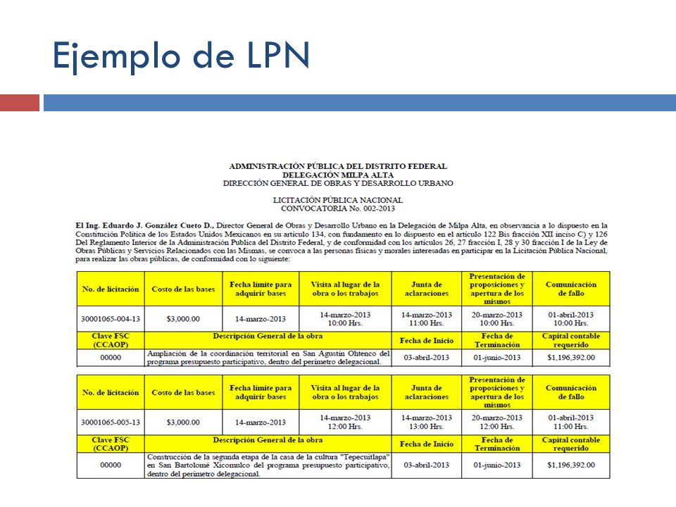 Ejemplo de LPN