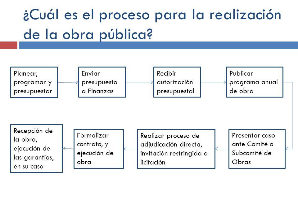 ¿Cuál es el proceso para la realización de la obra pública? Planear, programar y presupuestar Enviar presupuesto a Finanzas Recibir autorización presu
