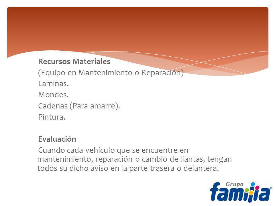 Recursos Materiales (Equipo en Mantenimiento o Reparación) Laminas.