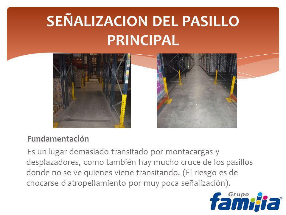 SEÑALIZACION DEL PASILLO PRINCIPAL Fundamentación Es un lugar demasiado transitado por montacargas y desplazadores, como también hay mucho cruce de los pasillos donde no se ve quienes viene transitando.