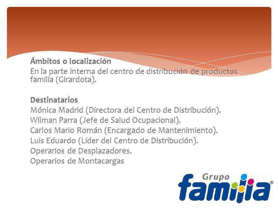 Ámbitos o localización En la parte interna del centro de distribución de productos familia (Girardota). Destinatarios Mónica Madrid (Directora del Cen