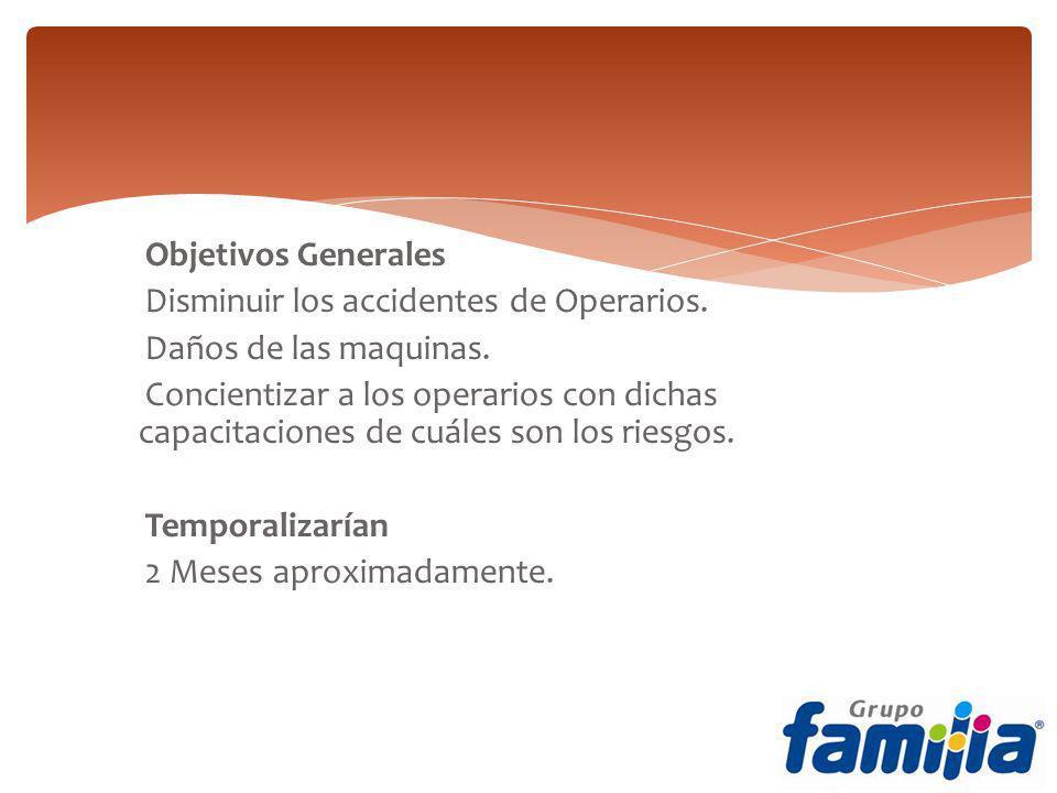 Objetivos Generales Disminuir los accidentes de Operarios. Daños de las maquinas. Concientizar a los operarios con dichas capacitaciones de cuáles son