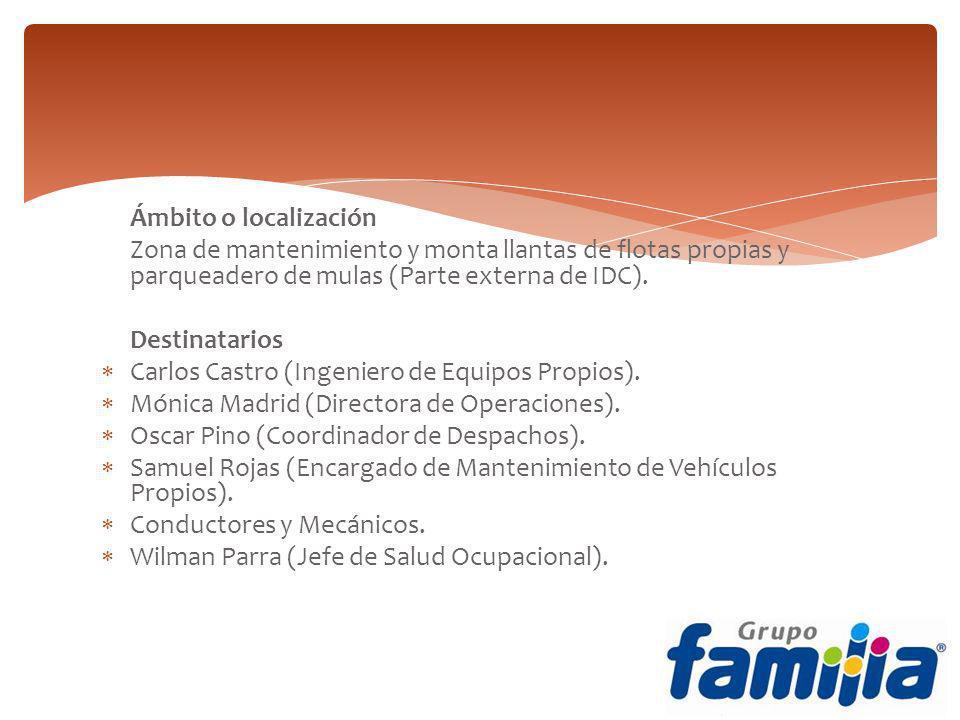 Ámbito o localización Zona de mantenimiento y monta llantas de flotas propias y parqueadero de mulas (Parte externa de IDC). Destinatarios Carlos Cast