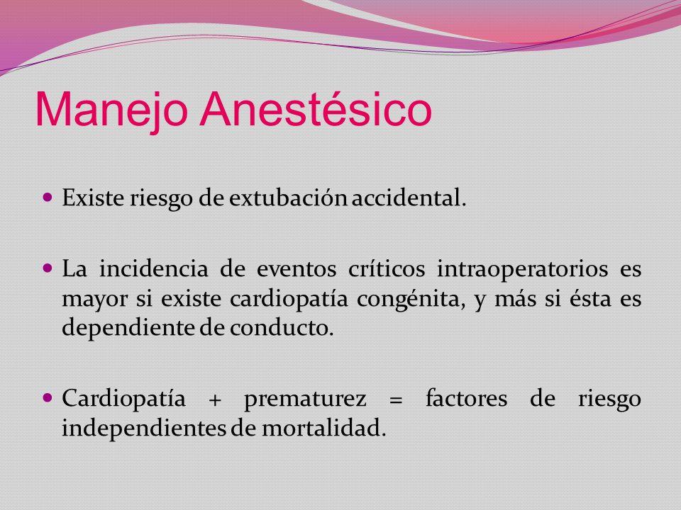 Manejo Anestésico Existe riesgo de extubación accidental. La incidencia de eventos críticos intraoperatorios es mayor si existe cardiopatía congénita,