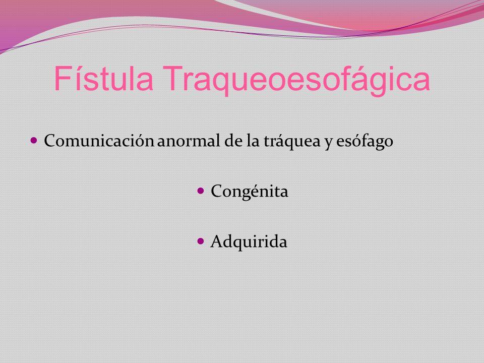 Fístula Traqueoesofágica Comunicación anormal de la tráquea y esófago Congénita Adquirida