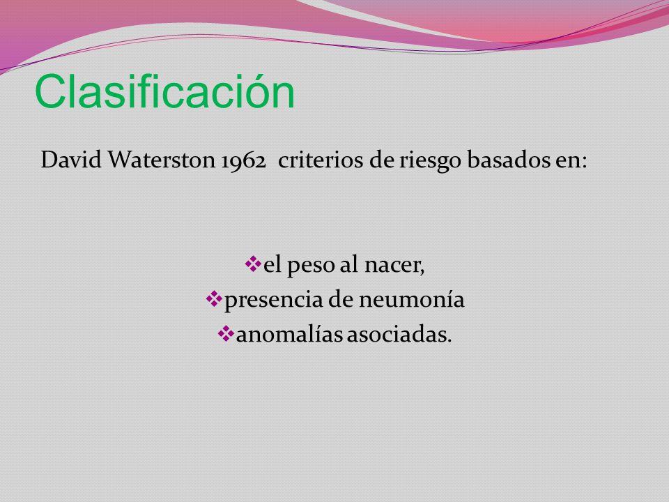 Clasificación David Waterston 1962 criterios de riesgo basados en: el peso al nacer, presencia de neumonía anomalías asociadas.