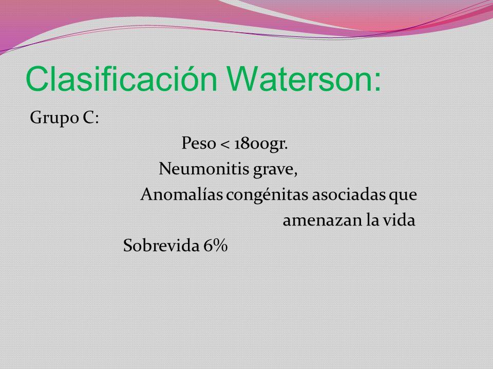 Clasificación Waterson: Grupo C: Peso < 1800gr. Neumonitis grave, Anomalías congénitas asociadas que amenazan la vida Sobrevida 6%
