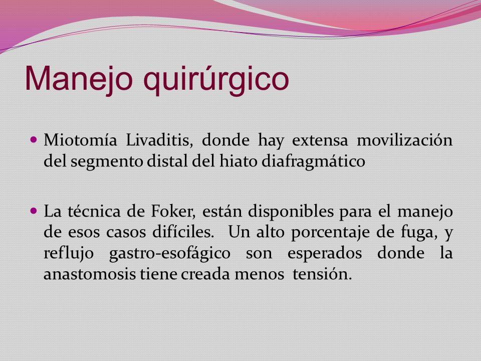 Manejo quirúrgico Miotomía Livaditis, donde hay extensa movilización del segmento distal del hiato diafragmático La técnica de Foker, están disponible