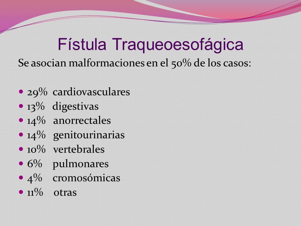 Fístula Traqueoesofágica Se asocian malformaciones en el 50% de los casos: 29% cardiovasculares 13% digestivas 14% anorrectales 14% genitourinarias 10