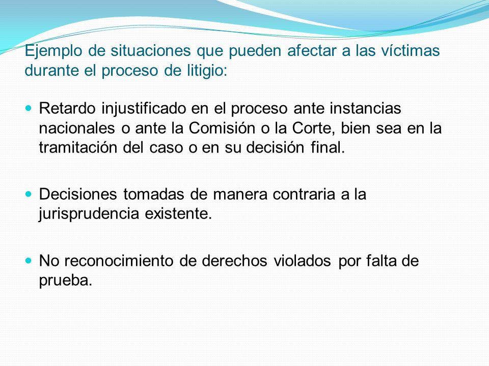 Ejemplo de situaciones que pueden afectar a las víctimas durante el proceso de litigio: Retardo injustificado en el proceso ante instancias nacionales