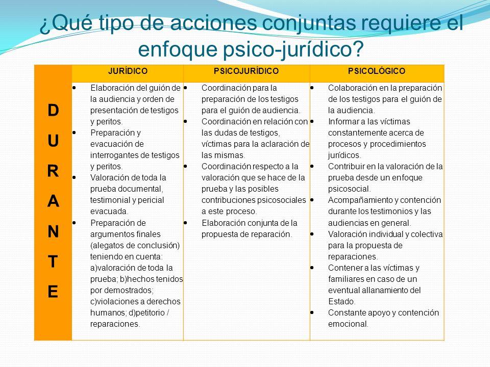 JURÍDICOPSICOJURÍDICOPSICOLÓGICO DURANTEDURANTE Elaboración del guión de la audiencia y orden de presentación de testigos y peritos. Preparación y eva