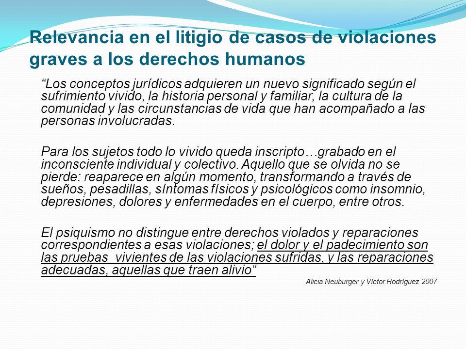 Relevancia en el litigio de casos de violaciones graves a los derechos humanos Los conceptos jurídicos adquieren un nuevo significado según el sufrimi