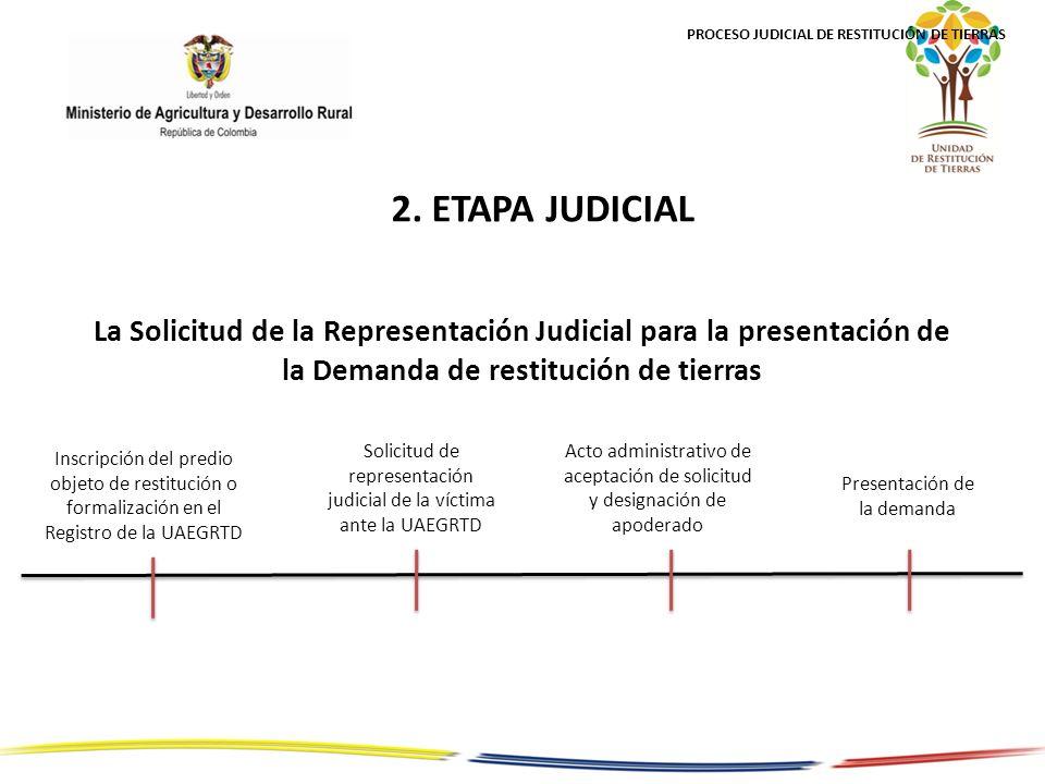La Solicitud de la Representación Judicial para la presentación de la Demanda de restitución de tierras Acto administrativo de aceptación de solicitud