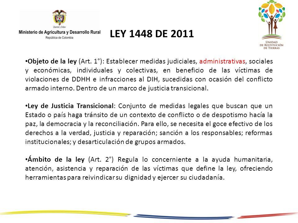 Objeto de la ley (Art. 1°): Establecer medidas judiciales, administrativas, sociales y económicas, individuales y colectivas, en beneficio de las víct