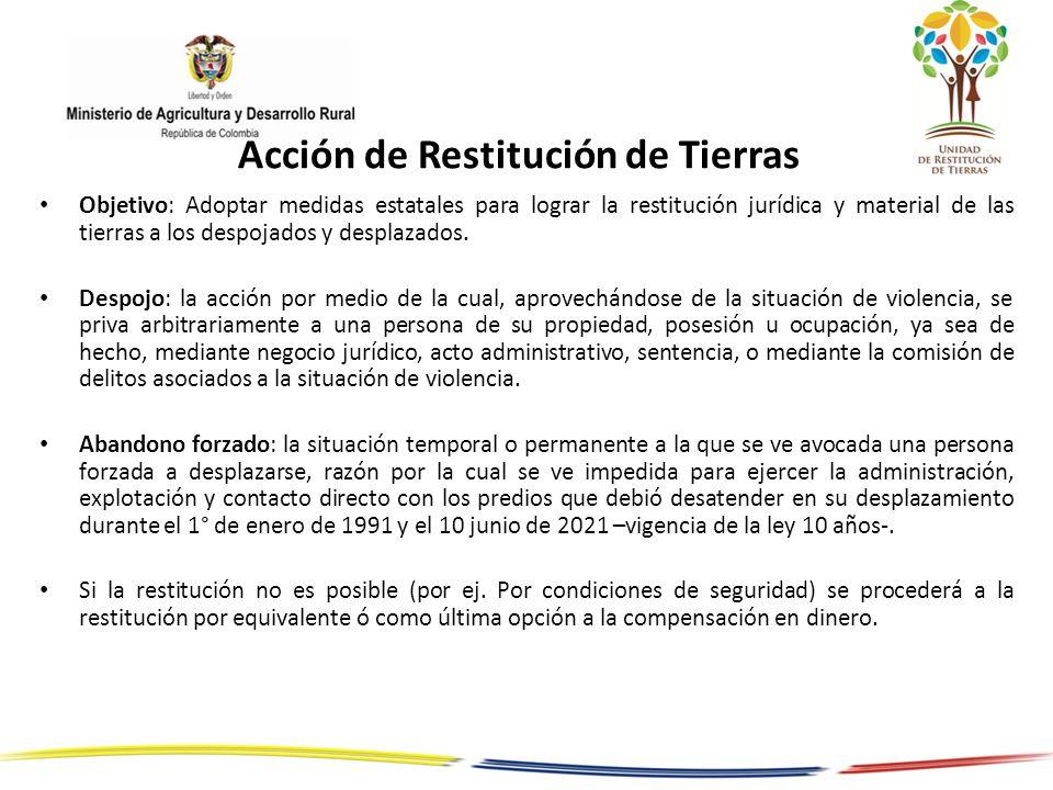 Acción de Restitución de Tierras Objetivo: Adoptar medidas estatales para lograr la restitución jurídica y material de las tierras a los despojados y