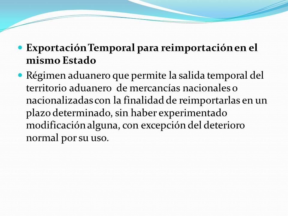 Exportación Temporal para reimportación en el mismo Estado Régimen aduanero que permite la salida temporal del territorio aduanero de mercancías nacio