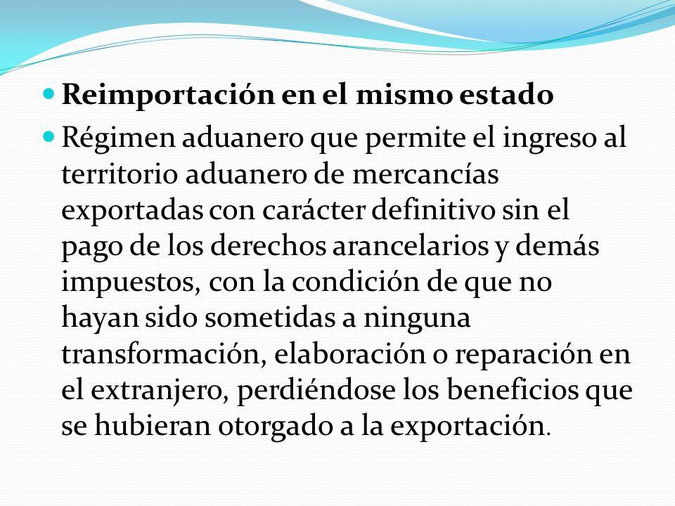 Reimportación en el mismo estado Régimen aduanero que permite el ingreso al territorio aduanero de mercancías exportadas con carácter definitivo sin e