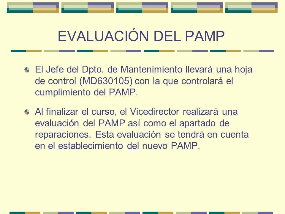 EVALUACIÓN DEL PAMP El Jefe del Dpto. de Mantenimiento llevará una hoja de control (MD630105) con la que controlará el cumplimiento del PAMP. Al final