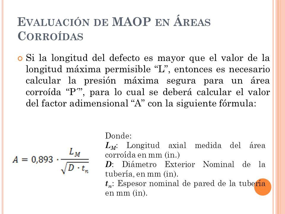 E VALUACIÓN DE MAOP EN Á REAS C ORROÍDAS Si la longitud del defecto es mayor que el valor de la longitud máxima permisible L, entonces es necesario calcular la presión máxima segura para un área corroída P´, para lo cual se deberá calcular el valor del factor adimensional A con la siguiente fórmula: Donde: L M : Longitud axial medida del área corroída en mm (in.) D : Diámetro Exterior Nominal de la tubería, en mm (in).