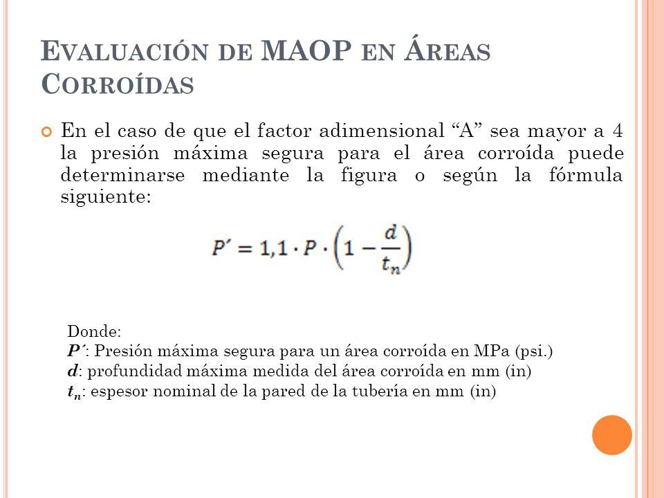 E VALUACIÓN DE MAOP EN Á REAS C ORROÍDAS En el caso de que el factor adimensional A sea mayor a 4 la presión máxima segura para el área corroída puede determinarse mediante la figura o según la fórmula siguiente: Donde: P´ : Presión máxima segura para un área corroída en MPa (psi.) d : profundidad máxima medida del área corroída en mm (in) t n : espesor nominal de la pared de la tubería en mm (in)