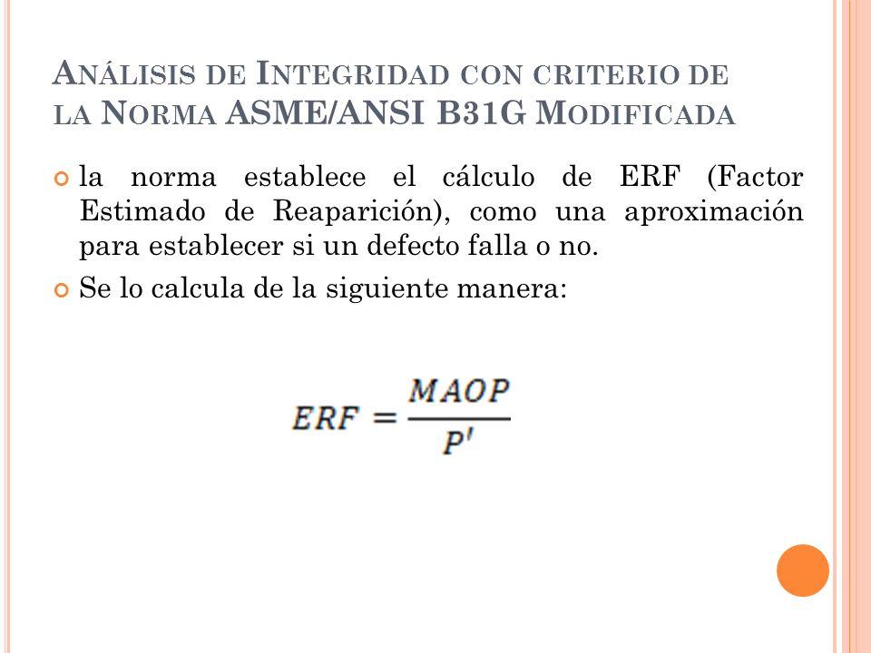 A NÁLISIS DE I NTEGRIDAD CON CRITERIO DE LA N ORMA ASME/ANSI B31G M ODIFICADA la norma establece el cálculo de ERF (Factor Estimado de Reaparición), como una aproximación para establecer si un defecto falla o no.