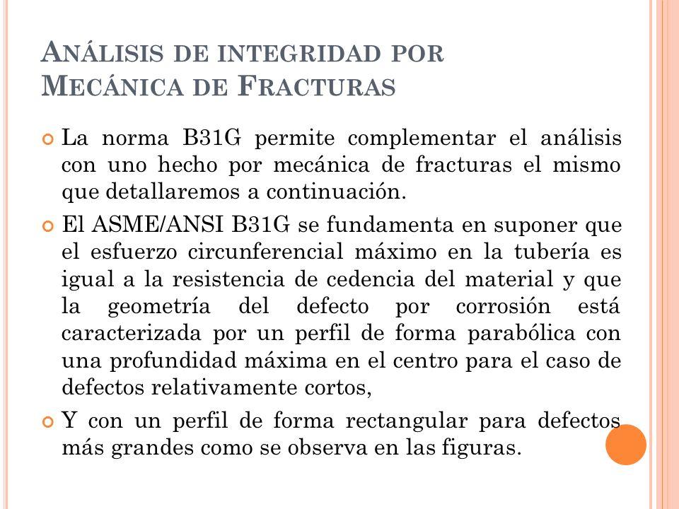 A NÁLISIS DE INTEGRIDAD POR M ECÁNICA DE F RACTURAS La norma B31G permite complementar el análisis con uno hecho por mecánica de fracturas el mismo que detallaremos a continuación.
