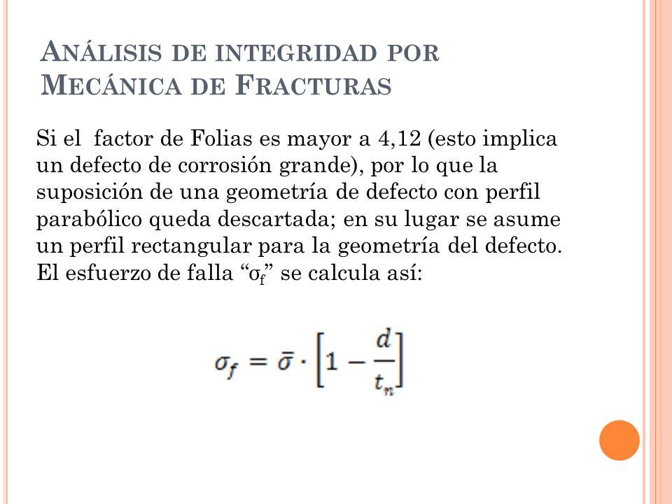 A NÁLISIS DE INTEGRIDAD POR M ECÁNICA DE F RACTURAS Si el factor de Folias es mayor a 4,12 (esto implica un defecto de corrosión grande), por lo que la suposición de una geometría de defecto con perfil parabólico queda descartada; en su lugar se asume un perfil rectangular para la geometría del defecto.