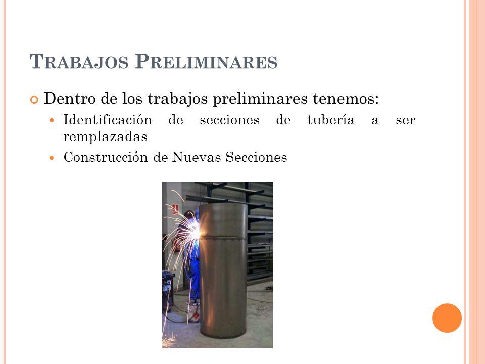 T RABAJOS P RELIMINARES Dentro de los trabajos preliminares tenemos: Identificación de secciones de tubería a ser remplazadas Construcción de Nuevas Secciones