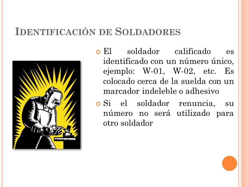 I DENTIFICACIÓN DE S OLDADORES El soldador calificado es identificado con un número único, ejemplo: W-01, W-02, etc.