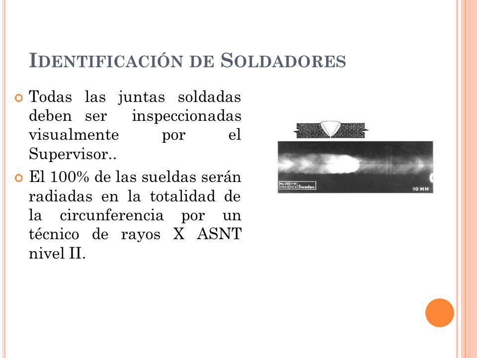 I DENTIFICACIÓN DE S OLDADORES Todas las juntas soldadas deben ser inspeccionadas visualmente por el Supervisor..