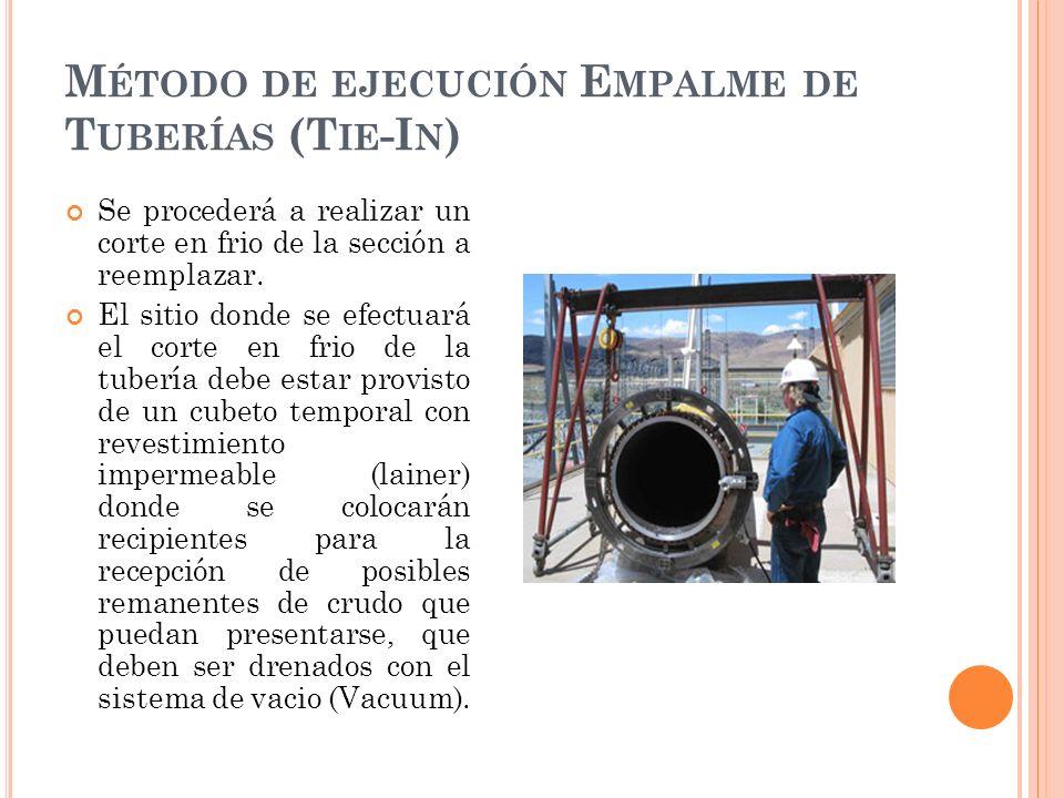 M ÉTODO DE EJECUCIÓN E MPALME DE T UBERÍAS (T IE -I N ) Se procederá a realizar un corte en frio de la sección a reemplazar.