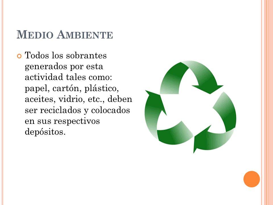 M EDIO A MBIENTE Todos los sobrantes generados por esta actividad tales como: papel, cartón, plástico, aceites, vidrio, etc., deben ser reciclados y colocados en sus respectivos depósitos.