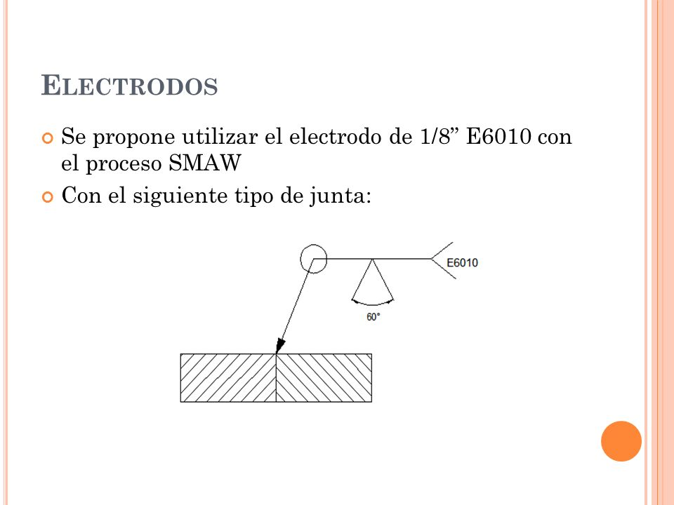 E LECTRODOS Se propone utilizar el electrodo de 1/8 E6010 con el proceso SMAW Con el siguiente tipo de junta: