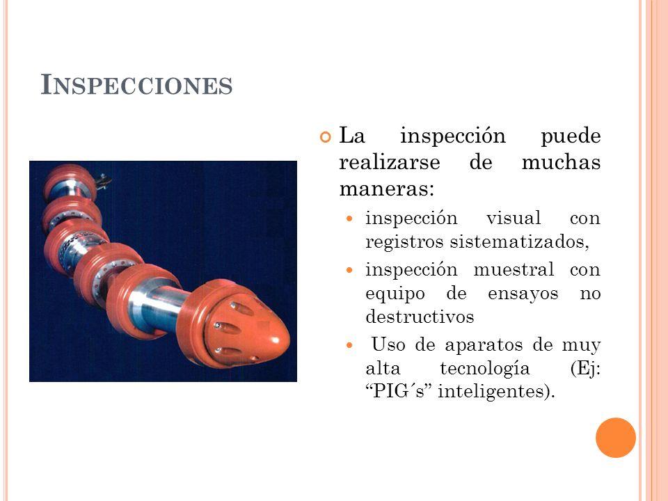 I NSPECCIONES La inspección puede realizarse de muchas maneras: inspección visual con registros sistematizados, inspección muestral con equipo de ensayos no destructivos Uso de aparatos de muy alta tecnología (Ej: PIG´s inteligentes).