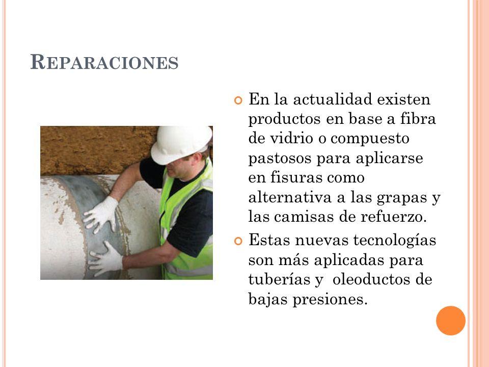 R EPARACIONES En la actualidad existen productos en base a fibra de vidrio o compuesto pastosos para aplicarse en fisuras como alternativa a las grapas y las camisas de refuerzo.
