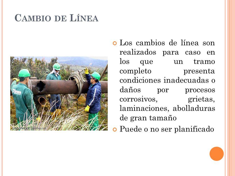 C AMBIO DE L ÍNEA Los cambios de línea son realizados para caso en los que un tramo completo presenta condiciones inadecuadas o daños por procesos corrosivos, grietas, laminaciones, abolladuras de gran tamaño Puede o no ser planificado