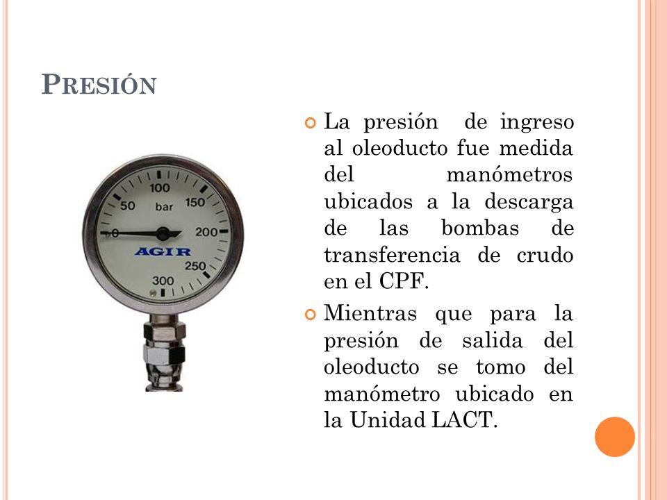 P RESIÓN La presión de ingreso al oleoducto fue medida del manómetros ubicados a la descarga de las bombas de transferencia de crudo en el CPF.