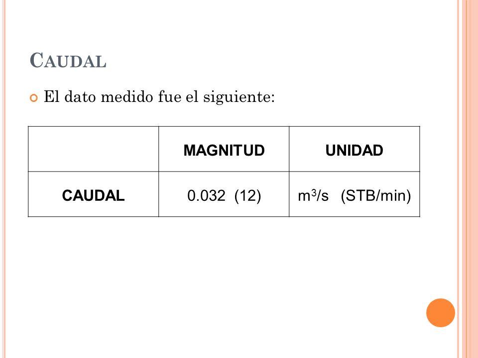 C AUDAL El dato medido fue el siguiente: MAGNITUDUNIDAD CAUDAL0.032 (12)m 3 /s (STB/min)