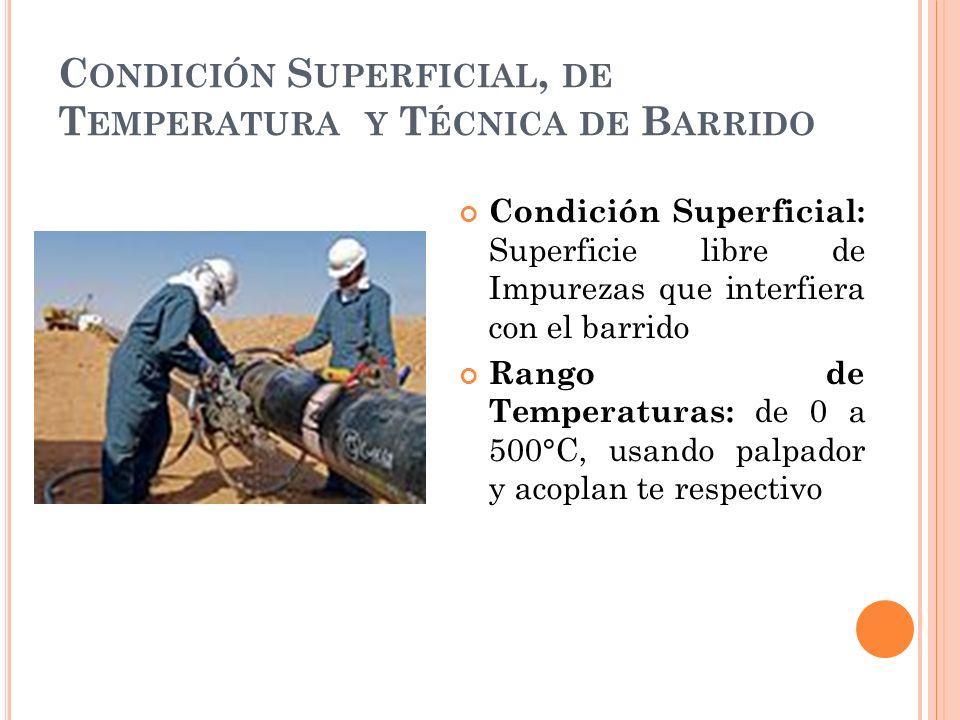 C ONDICIÓN S UPERFICIAL, DE T EMPERATURA Y T ÉCNICA DE B ARRIDO Condición Superficial: Superficie libre de Impurezas que interfiera con el barrido Rango de Temperaturas: de 0 a 500°C, usando palpador y acoplan te respectivo