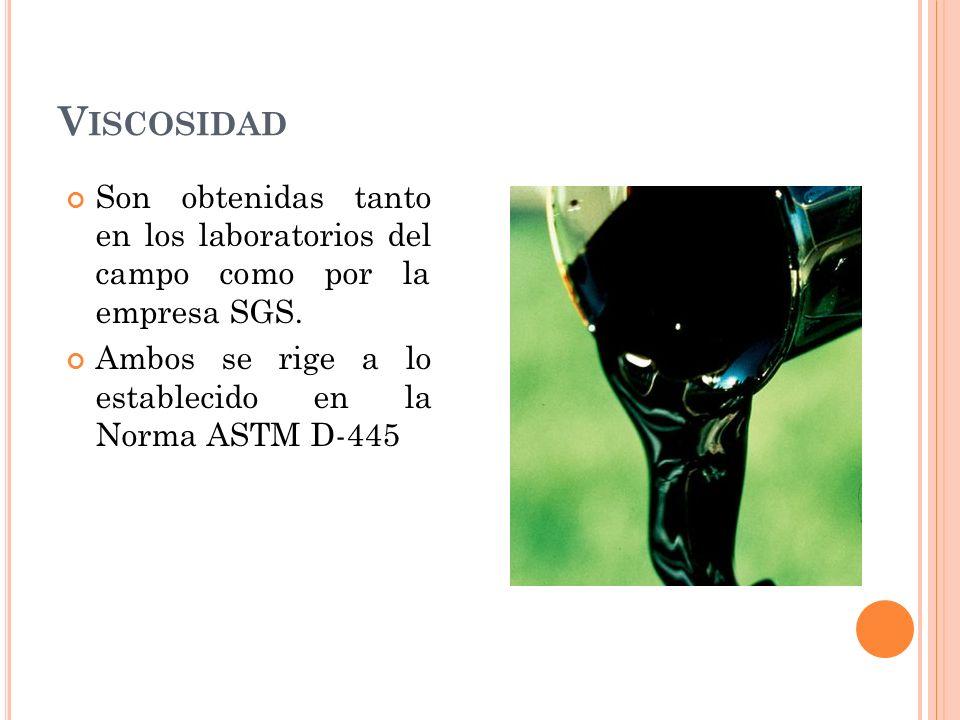 V ISCOSIDAD Son obtenidas tanto en los laboratorios del campo como por la empresa SGS.