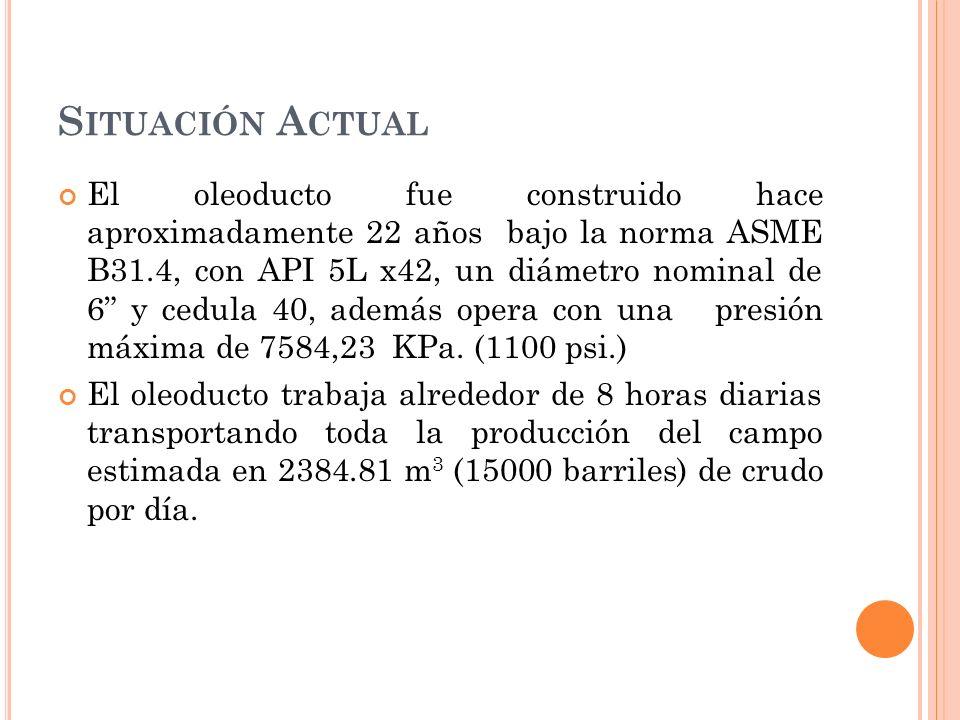 S ITUACIÓN A CTUAL El oleoducto fue construido hace aproximadamente 22 años bajo la norma ASME B31.4, con API 5L x42, un diámetro nominal de 6 y cedula 40, además opera con una presión máxima de 7584,23 KPa.