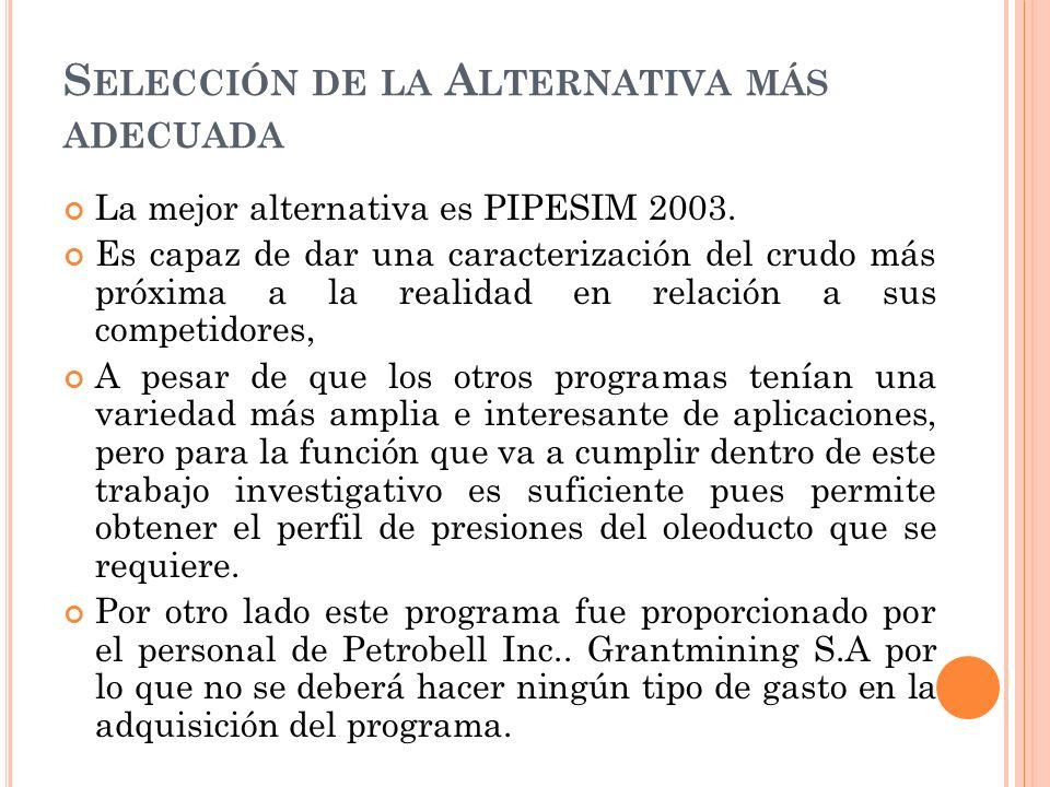 S ELECCIÓN DE LA A LTERNATIVA MÁS ADECUADA La mejor alternativa es PIPESIM 2003.